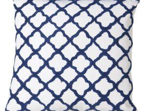 Luxury Square Cushion - Blue & White Quatrefoil Design - Feather Filled