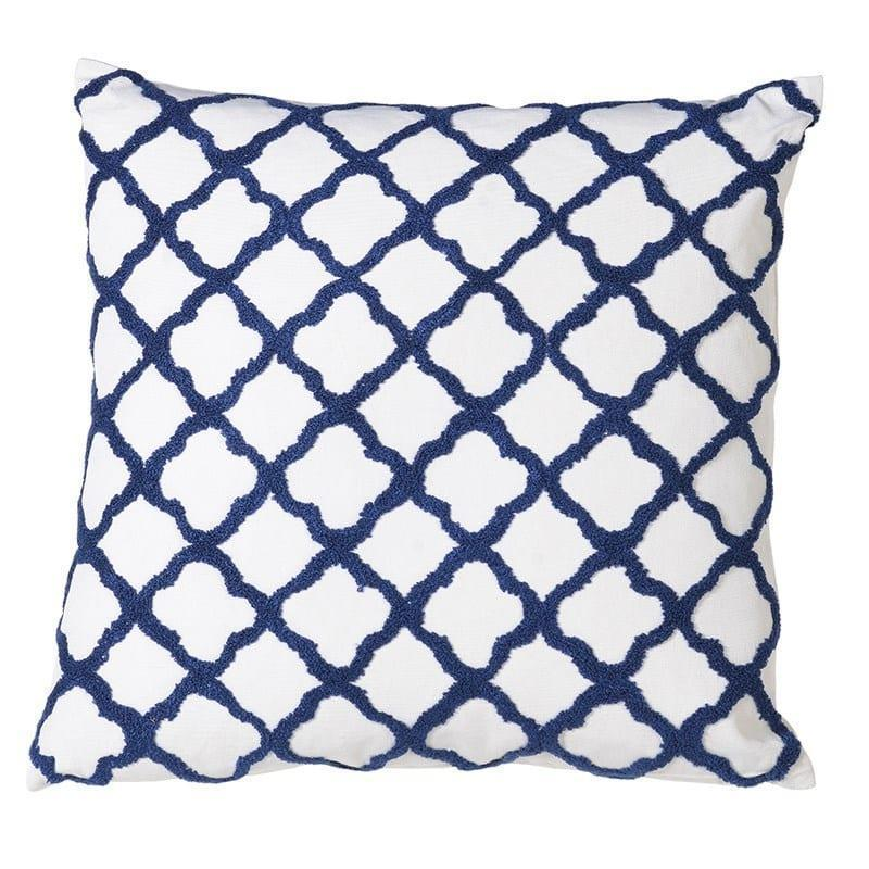 Luxury Cushion Collection Blue And White Quatrefoil Feather Filled