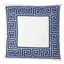 Luxury Cushion Collection ~ Blue and White Greek Key Border Cushion ~ Feather Filled