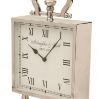 Mantel Clock - McLaughlin & Scott - Medium Footed Polished Chrome Mantel Clock