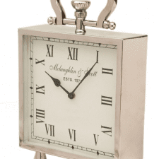 McLaughlin & Scott Medium Footed Chrome Mantel Clock