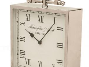 Mantel Clock - McLaughlin & Scott - Medium Footed Polished Chrome Mantel Clock