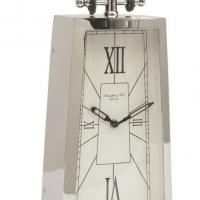 Mantel Clock - McLaughlin & Scott Clock Co - Tall Chrome Mantel Clock