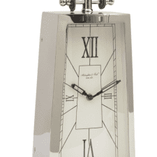 McLaughlin & Scott Tall Curved Chrome Mantel Clock