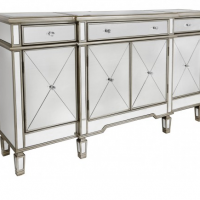 Sideboard - Champagne Surround Mirrored Sideboard - 3 Drawer 4 Door