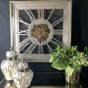 Wall Clock - Moving Gold Center Cogs - Pewter Finish