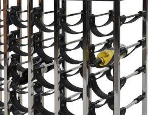 Wine Rack - 15 Layer Chrome & Leather Wine Rack - Contemporary Design