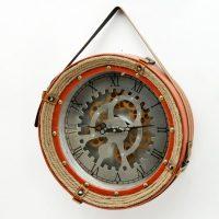 Round Moving Centre Cog Designer Wall Clock - Silver Finish