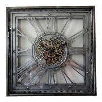 Square Moving Centre Cog Designer Wall Clock - Pewter Finish