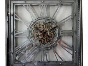 Wall Clock - Moving Centre Cogs - Square Wall Clock - Pewter Finish