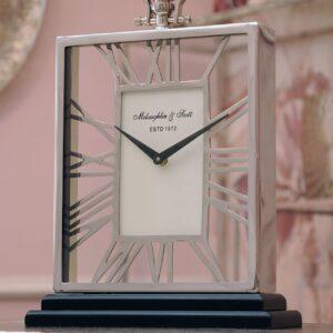 Mantel Clock - 'McLaughlin & Scott' Polished Chrome Skeleton Mantel Clock