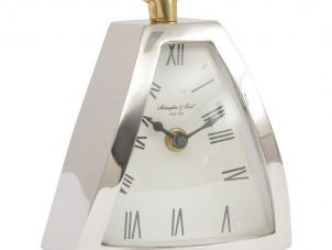 Mantel Clock - McLaughlin & Scott Clock Co - Chrome & Brass Mantel Clock