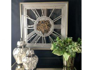 Wall Clock - Moving Gold Center Cogs - Square Designer - Pewter Finish