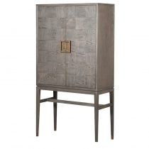 'The Squares' Tall Drinks Bar Cabinet - Blue Velvet Lined