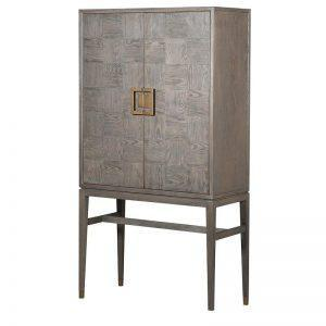 Drinks Cabinet - Inlaid Oak 2 Door Tall Bar Cabinet - Velvet Lined
