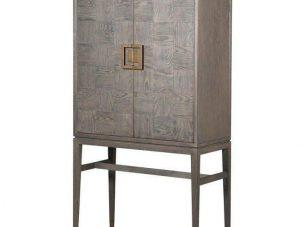 Drinks Bar Cabinet - Inlaid Oak - 2 Door Cabinet - Velvet Lined