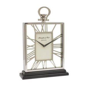 Mantel Clock - 'McLaughlin & Scott Clock Co' Polished Chrome - Skeleton Design