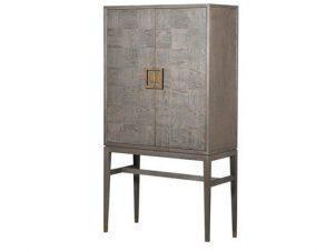 Drinks Bar Cabinet - Inlaid Oak - 2 Door Cabinet - Velvet Lined