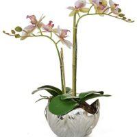 Orchid Flower Arrangement - Pink Orchid Arrangement - Silver Leaf Bowl