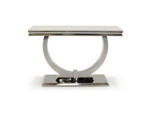 Console Table - Cream Marble & Chrome Based -120cm