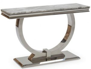 Console Table - Grey Marble Top & Chrome Based - 120cm