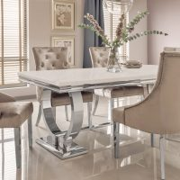 180cm Dining Table - Chrome & Cream Marble Top - 4 Champagne Velvet Chairs
