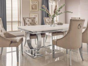 1200cm - Marble Dining Table Set - Chrome & Cream Marble - 6 Velvet Chairs