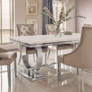 200cm - Marble Dining Table Set - Chrome & Cream Marble - 6 Velvet Chairs