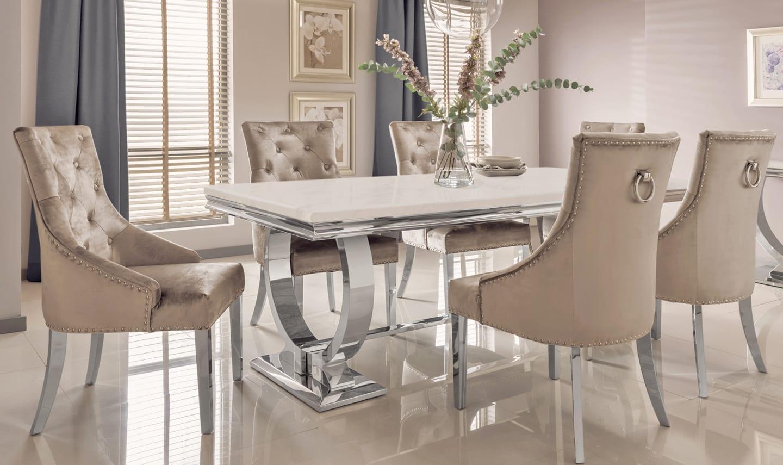 79338fe448f1 'Adrianna' Chrome & Marble Contemporary Dining Table - 200cm - Grey · '