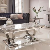 Coffee Table - Chrome Based - Grey Marble Top