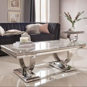 Grey Coffee Table - Chrome Based & Grey Marble - Contemporary Design