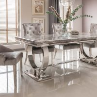 200cm Dining Table Set - Polished Chrome & Grey Marble Top - 6 Velvet Chairs