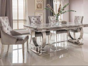 180cm Chrome Dining Table - Chrome & Grey Marble - 4 Chairs
