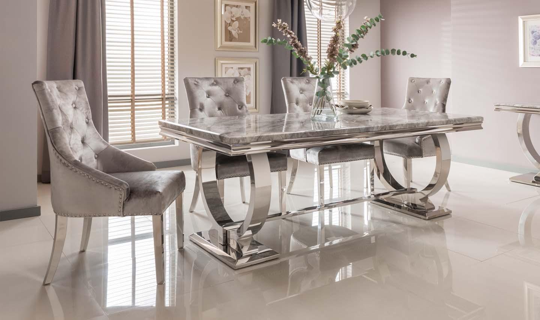 Adrianna Chrome Grey Marble Dining Table 180cm 6 Chairs