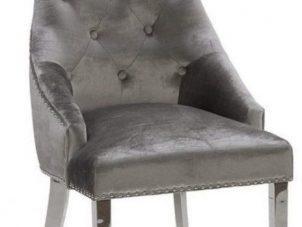 Chrome Leg Chrome Studded Velvet Dining Chair - Chrome Knocker - Pewter