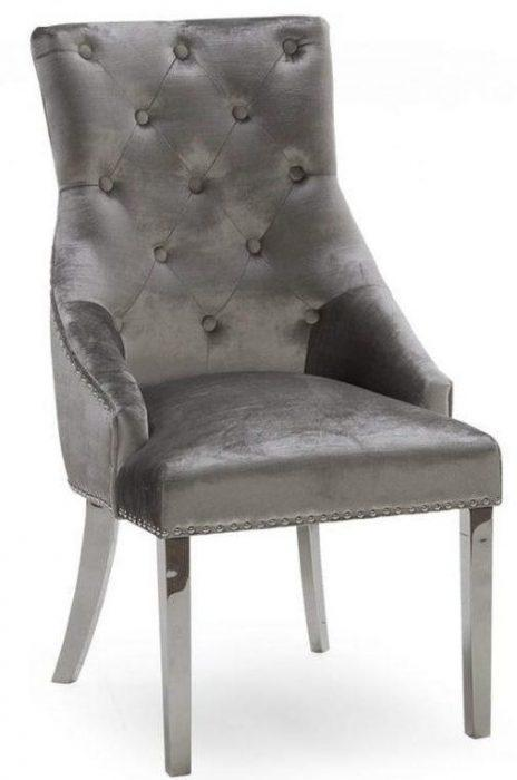Chrome Leg Chrome Studded Velvet Dining Chair - Chrome Knocker - Pewter