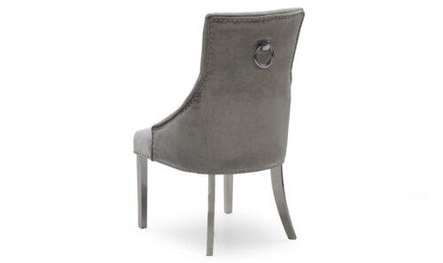 'Adrianna' Chrome & Marble Contemporary Dining Table - 200cm - Grey