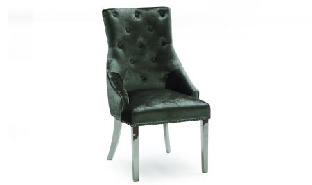 Chrome Leg Chrome Studded Velvet Dining Chair - Chrome Knocker - Champagne Great new design to add to the Dining Chair Range - rich velvet with a deep chrome studding - chrome legs - chrome knocker See the dining table selection to go with these dining chairs-HERE Available in Charcoal, Champagne & Pewter fabric - same dimensions and design. Matching Bar Stools are also available - For all Bar Stools & matching Dining Chairs - ClickHERE Width: 54cm Height: 100cm Depth: 72cm Seat Height: 47cm