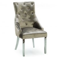 Dining Chair - Chrome Leg - Chrome Knocker - Champagne Velvet Dining Chair