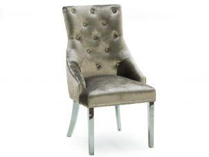Dining Chair - Chrome Leg - Chrome Knocker - Champagne Velvet