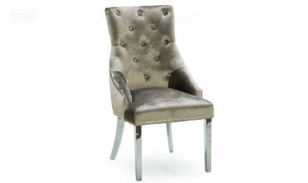 Dining Chair - Chrome Leg - Chrome Knocker - Champagne Velvet Dining Chair