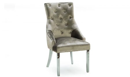 The Belvedere is a dining chair of luxury - beautifully designed with polished metal and brushed velvet. Available in 3 Colours - Pewter, Charcoal & Champagne.