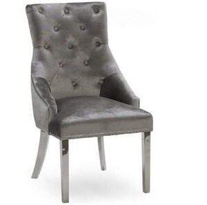 Dining Chair - Chrome Leg - Chrome Knocker - Pewter Silver Velvet