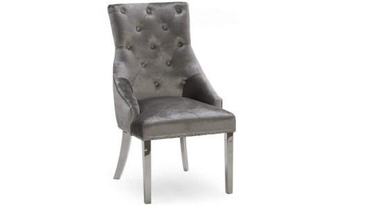 Dining Chair - Chrome Leg - Chrome Knocker - Pewter Silver Velvet