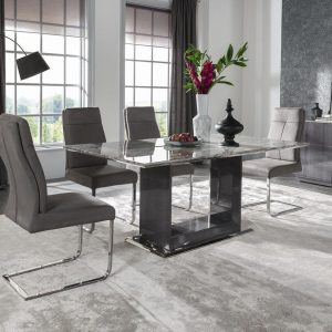 Dining Table - High Gloss Base & Marble Top - Contemporary - Dominican Collection