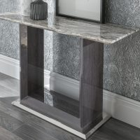 Console Table - High Gloss Base & Marble Top - Contemporary - Dominican Collection