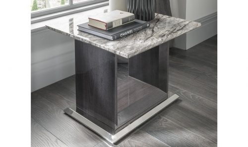 Side Table - High Gloss Base & Marble Top - Contemporary - Dominican Collection