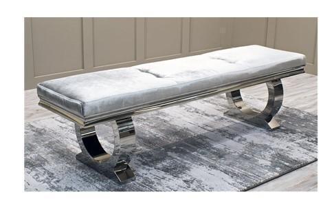 Long Bench- Contemporary Chrome Bench - Pewter Velvet -180cm