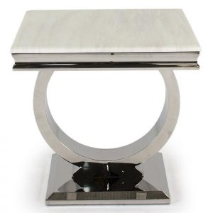 Lamp Table - Chrome Based Cream Marble Top Side Table
