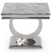 Lamp Table - Chrome Based Marble Top Side Table - Grey Marble